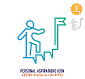 Personal aspirations vector icon illustration for logo, emblem or symbol use. Part of continuous one line minimalistic drawing series. Design elements with editable gradient stroke line.