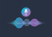 Personal assistant and voice recognition concept gradient vector illustration of soundwave intelligent technologies.