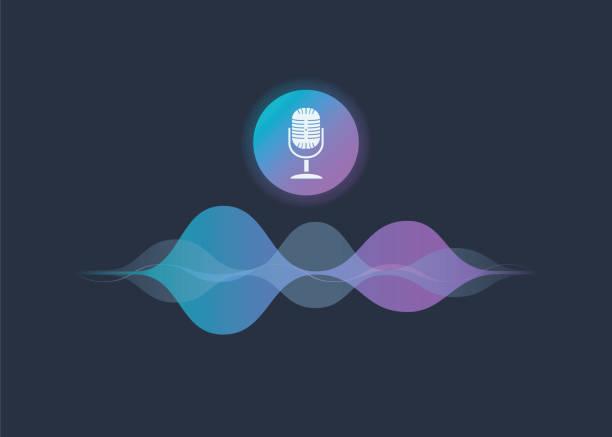 illustrazioni stock, clip art, cartoni animati e icone di tendenza di personal assistant and voice recognition concept gradient vector illustration of soundwave intelligent technologies. - voce