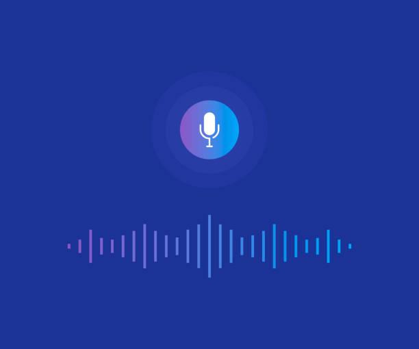 illustrazioni stock, clip art, cartoni animati e icone di tendenza di personal assistant and voice recognition concept. microphone button with bright voice and sound imitation lines. modern flat style vector illustration - voce