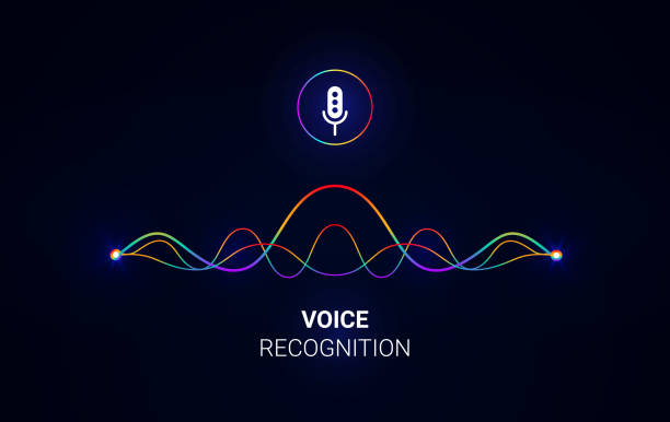 パーソナル アシスタントと音声認識の概念。サウンド ウェーブ インテリジェント技術。マイクのアイコン。ベクトルの図。携帯電話で音声アシスタント logo.communication。 - 音響点のイラスト素材/クリップアート素材/マンガ素材/アイコン素材
