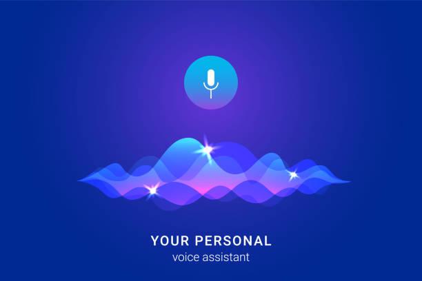 persönliche assistentin und stimme anerkennung-konzept - assistent stock-grafiken, -clipart, -cartoons und -symbole