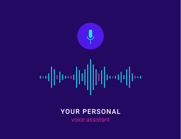 personal assistant and voice recognition concept - sound wave stock illustrations, clip art, cartoons, & icons