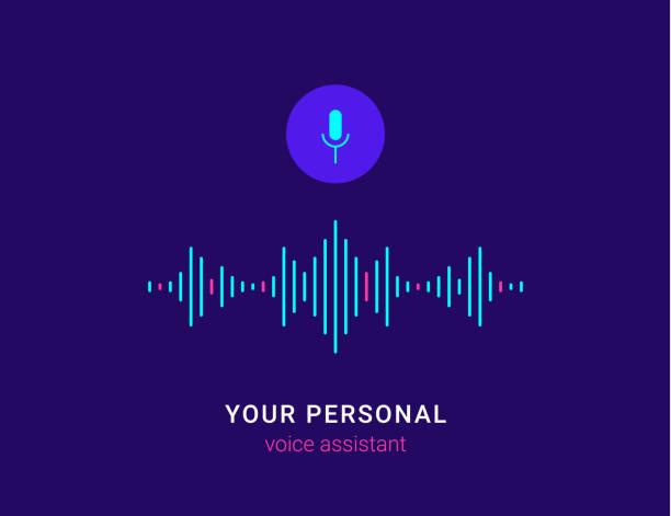 illustrazioni stock, clip art, cartoni animati e icone di tendenza di personal assistant and voice recognition concept - voce