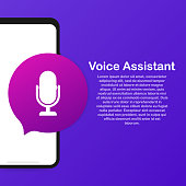 Personal assistant and voice recognition on mobile app. Concept flat vector illustration of human hand holds smartphone with microphone button.