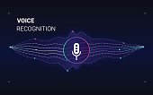 Personal assistant voice recognition concept. Artificial intelligence technologies. Sound wave logo concept for voice recognition application, website background. Home smart system assistant.Vector