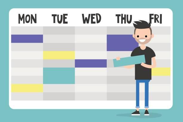 ilustraciones, imágenes clip art, dibujos animados e iconos de stock de asistente de personal. joven personaje planificación de un programa / plano editable vector ilustración, imágenes prediseñadas - fiesta en la oficina