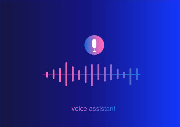 Personal assistant,voice intelligent technologies,recognition concept.Vector illustration of sound symbol intelligent technologies.Microphone button with voice and sound imitation line.gradient Personal assistant,voice intelligent technologies,recognition concept.Vector illustration of sound symbol intelligent technologies.Microphone button with voice and sound imitation line. speech recognition stock illustrations