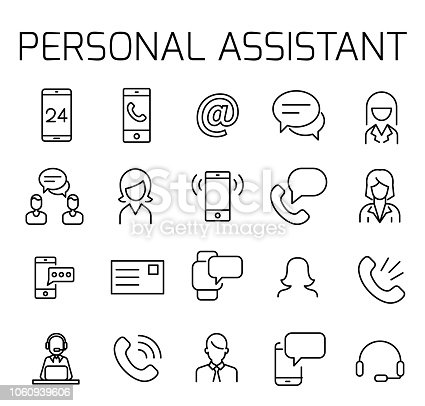 Personal assitant related vector icon set. Well-crafted sign in thin line style with editable stroke. Vector symbols isolated on a white background. Simple pictograms.