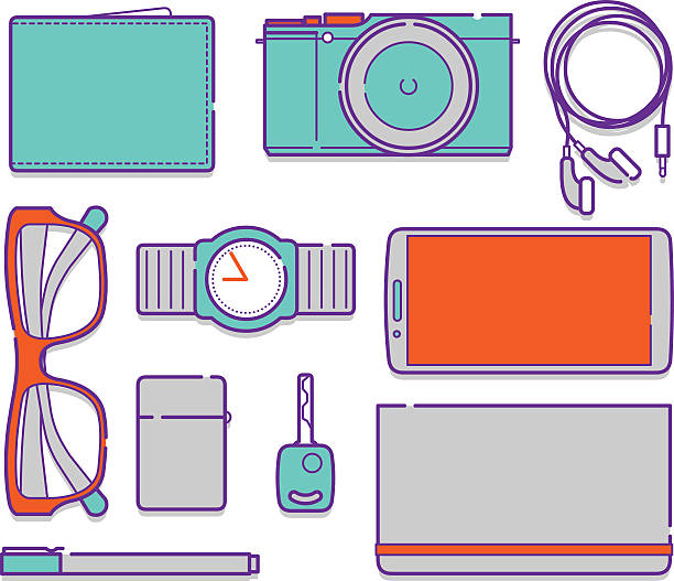 belongings personal clip illustrations vector icons