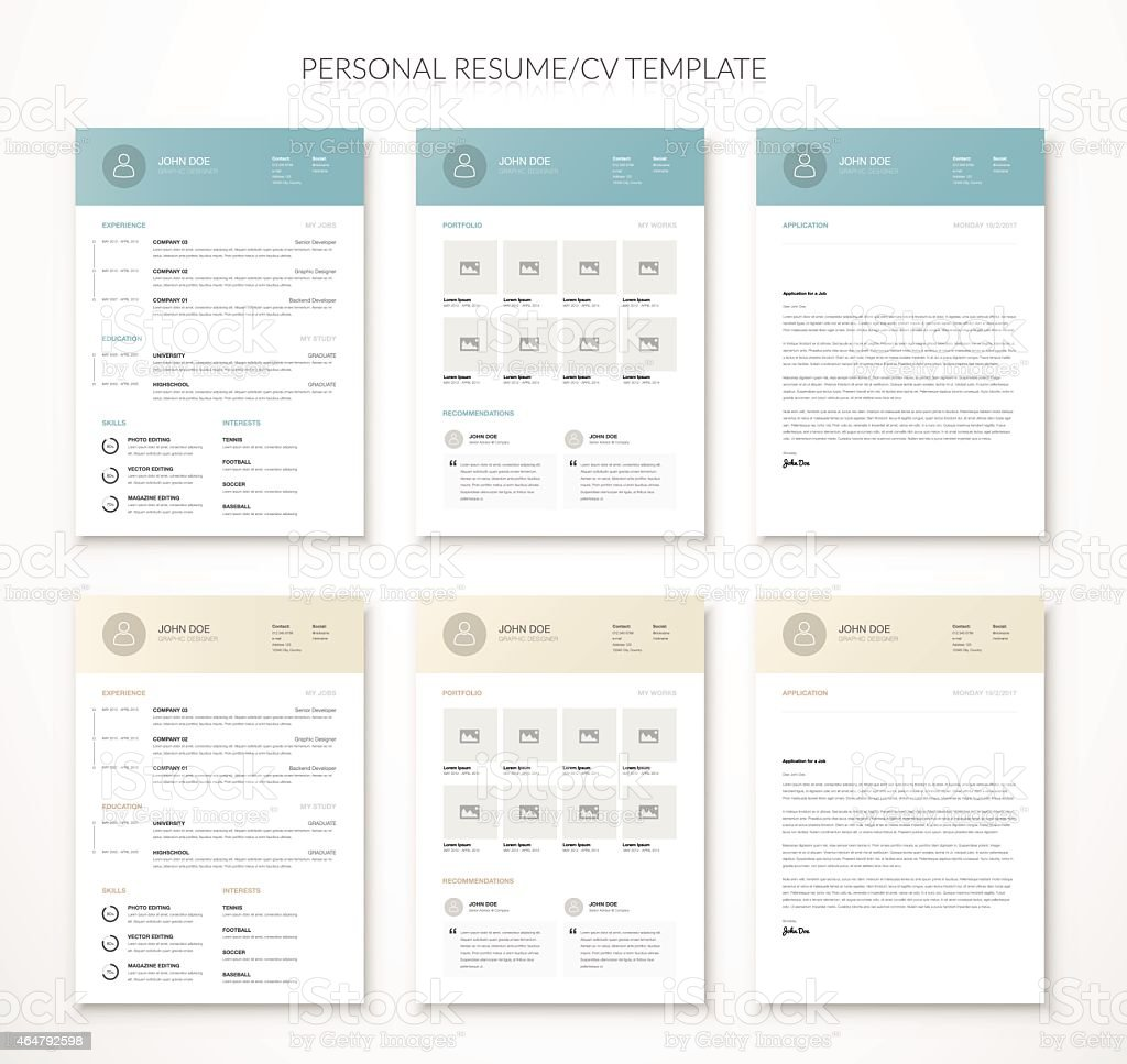 Personal business curriculum vitae and resume vector two colors vector art illustration
