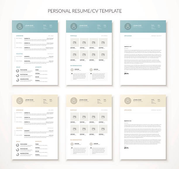 personal business curriculum vitae and resume vector two colors - resume templates stock illustrations