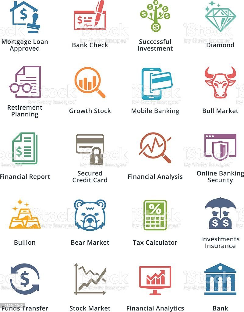 Personal & Business Finance Icons Set 1 - Colored Series vector art illustration