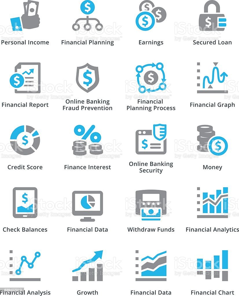 Finance Graph: Personal Business Finance Icons Set 5 Sympa Series Stock