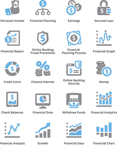 personal & business finance icons set 5 - sympa series - credit score stock illustrations, clip art, cartoons, & icons