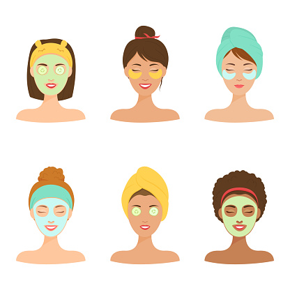 Personal care at home set. Different girls with a cosmetic mask on her face.
