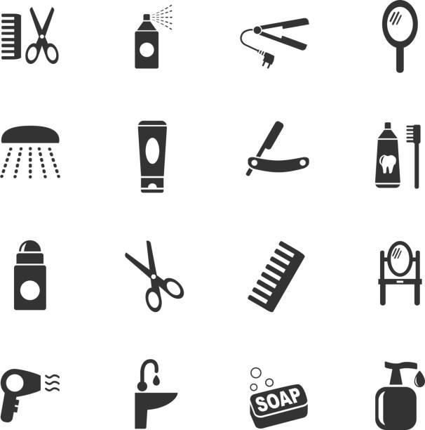 persönliche betreuung symbol-set - haarsprays stock-grafiken, -clipart, -cartoons und -symbole