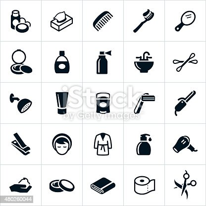 Icons representing common personal care and hygiene icons. The icons include products ranging from personal cleaning items like shampoo and soap to beautification products like makeup, lotions and a curling iron.