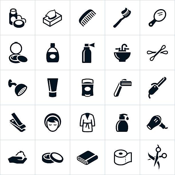 illustrazioni stock, clip art, cartoni animati e icone di tendenza di icone di cura personale - igiene