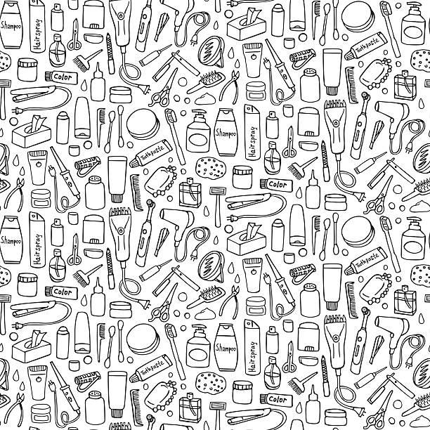 ilustrações, clipart, desenhos animados e ícones de personal care seamless pattern - salão de beleza