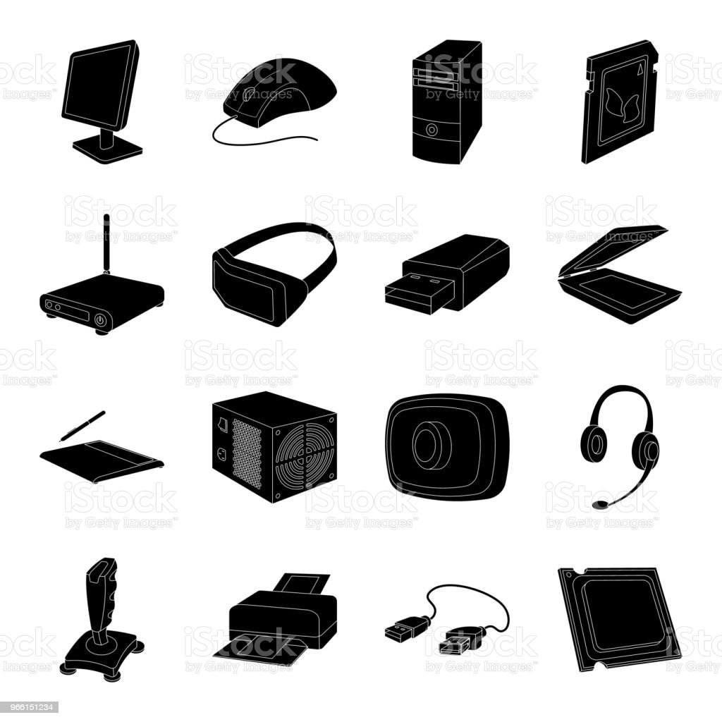 Personal computer black icons in set collection for design. Equipment and accessories vector symbol stock web illustration. - Векторная графика Без людей роялти-фри