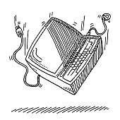Personal Computer Falling Down Drawing
