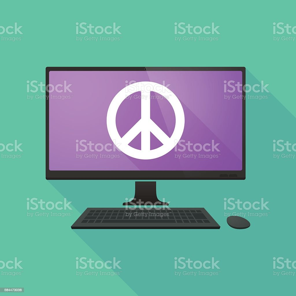 Personal Computer With A Peace Sign Stock Vector Art More Images