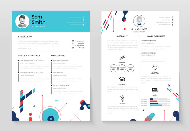 personal cv- set of modern vector template illustrations - resume templates stock illustrations