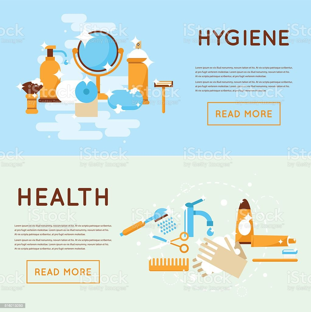 Personal daily hygiene shaving, washing, brushing your teeth, shower, bathroom. vector art illustration