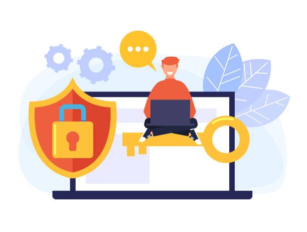Konzept zum Schutz personenbezogener Daten. Vektor flache Cartoon Grafik-Design isolierte Illustration – Vektorgrafik