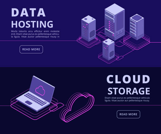 Personal data protection, hosting solutions, computer synchronization, data networking vector banners set with isometric computers vector art illustration