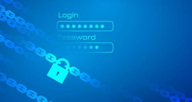 Persönliche Daten-Schutz-Thema mit Kette – Vektorgrafik