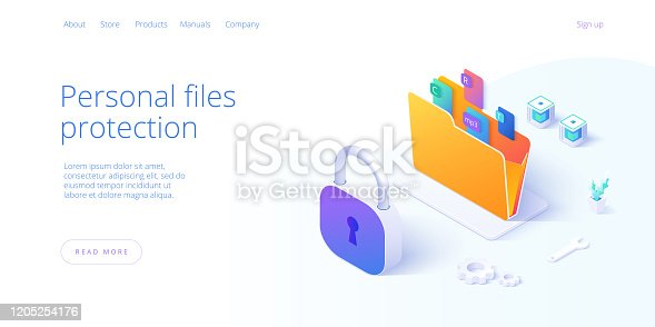 istock Personal data security in isometric vector illustration. Online file server protection system concept with folder and lock. Secure information transfer background template for web banner. 1205254176