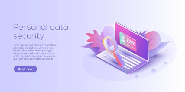 個人情報セキュリティ等尺性ベクトル イラスト。オンライン サーバー id の保護システムの概念。ログイン パスワードの確認にインターネット経由で取引をセキュリティ保護します。 - id盗難点のイラスト素材/クリップアート素材/マンガ素材/アイコン素材
