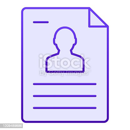 istock Personal document flat icon. Identification paper blue icons in trendy flat style. Sheet gradient style design, designed for web and app. Eps 10. 1209489886