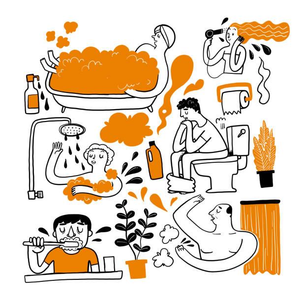 eine persönliche besorgungen im badezimmer. - duscharmaturen stock-grafiken, -clipart, -cartoons und -symbole