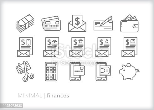 Set of 15 personal finance line icons showing concepts including debt, retirement, paying bills, savings, mobile pay, pay check, wallet, piggy bank and check book
