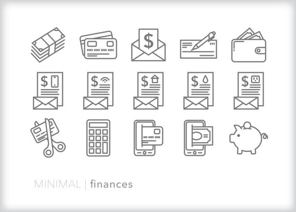 personal finance and savings line icon set - płacić stock illustrations