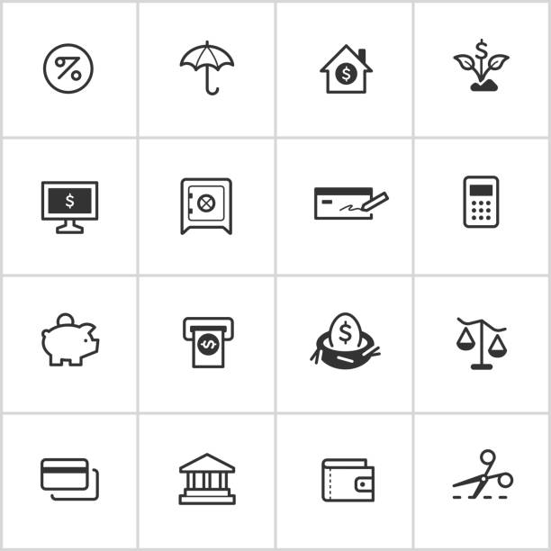 Personal Finance Icons — Inky Series Professional icon set in flat black style. Vector artwork is easy to colorize, manipulate, and scales to any size. nest egg stock illustrations