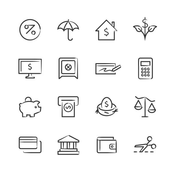 Personal Finance Icons — Sketchy Series Professional icon set in sketch style. Vector artwork is easy to colorize, manipulate, and scales to any size. banking drawings stock illustrations