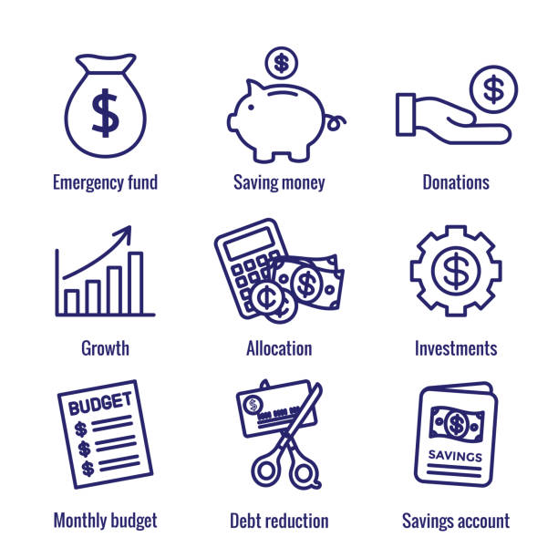 Personal Finance & Responsibility Icon Set with Money, Saving, & Banking options Personal Finance and Responsibility Icon Set with Money, Saving, and Banking options budget silhouettes stock illustrations