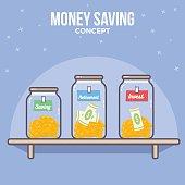 Personal financial management. Money saving, Money management. Money plan.