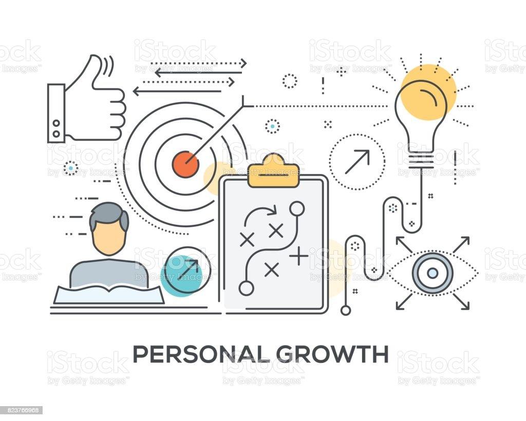 Concepto de crecimiento personal con los iconos - ilustración de arte vectorial