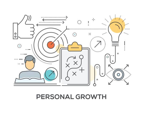 ilustraciones, imágenes clip art, dibujos animados e iconos de stock de concepto de crecimiento personal con los iconos - consejero de la escuela