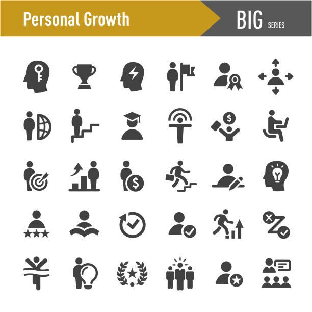 stockillustraties, clipart, cartoons en iconen met persoonlijke groei iconen-grote series - zelf ontwikkeling