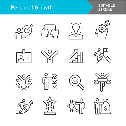 Personal Growth Line Icons (Editable Stroke)