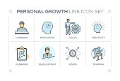 Personal Growth keywords with line icons