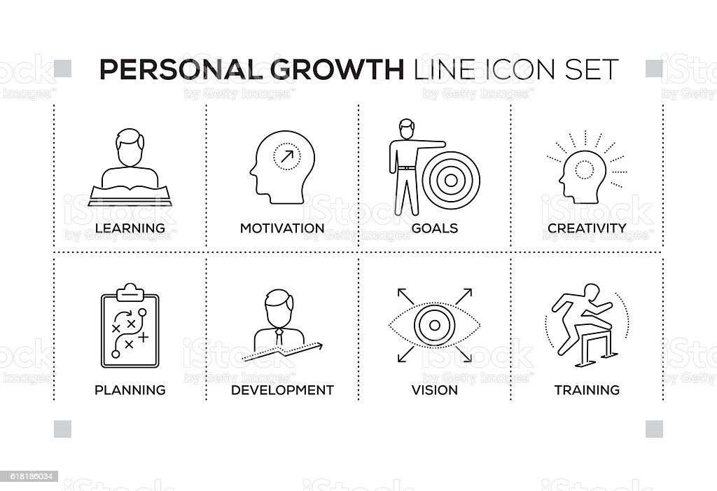 Personal Growth keywords with monochrome line icons vector art illustration