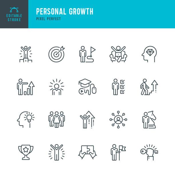 persönliches wachstum - dünnlinien-vektor-symbol-set. pixel perfekt. bearbeitbarer strich. das set enthält symbole: führung, lernen, karriere, geschicklichkeit, motivation, aufsteigen, gewinner, erfolg, wettbewerb, leiter des erfolgs. - fähigkeit stock-grafiken, -clipart, -cartoons und -symbole