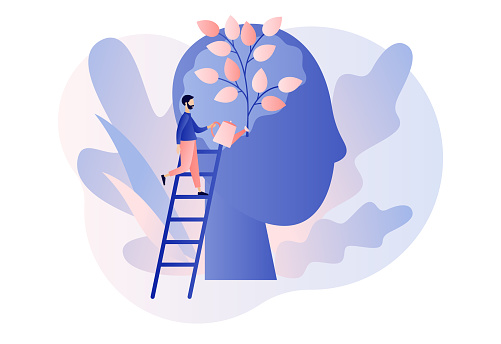 Personal growth. Tiny man watering that growing plant from the brain as metaphor growth personality. Self-improvement and self development concept. Modern flat cartoon style. Vector